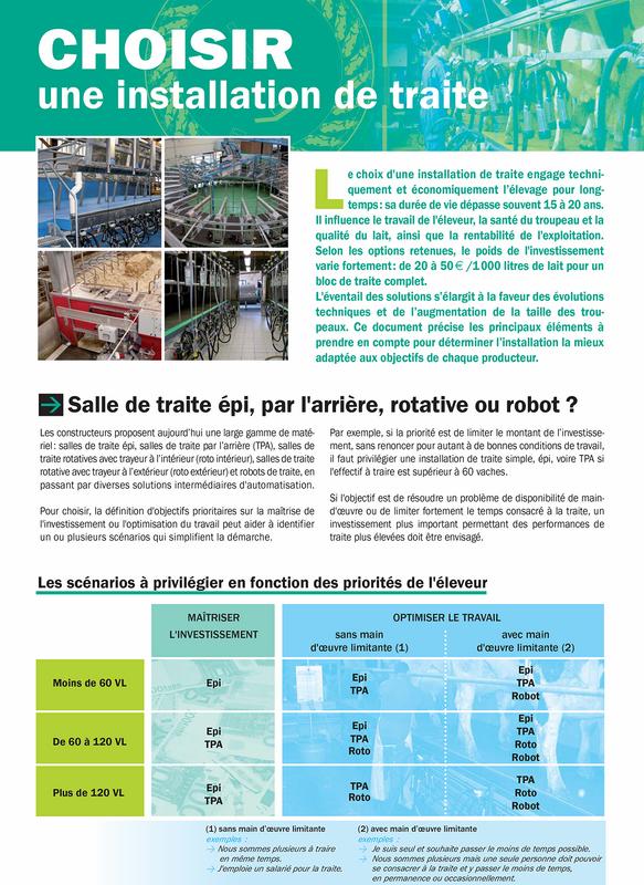 Choisir une installation de traite chambre d 39 agriculture - Chambre d agriculture de la manche ...